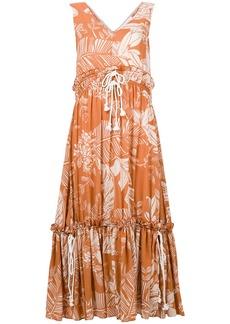 See By Chloé palm-print drawstring maxi dress - Brown