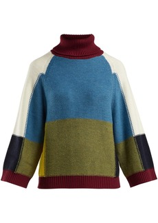 See By Chloé Patchwork roll-neck wool sweater