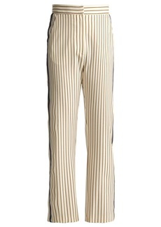 See By Chloé Pinstriped straight-leg cropped crepe trousers