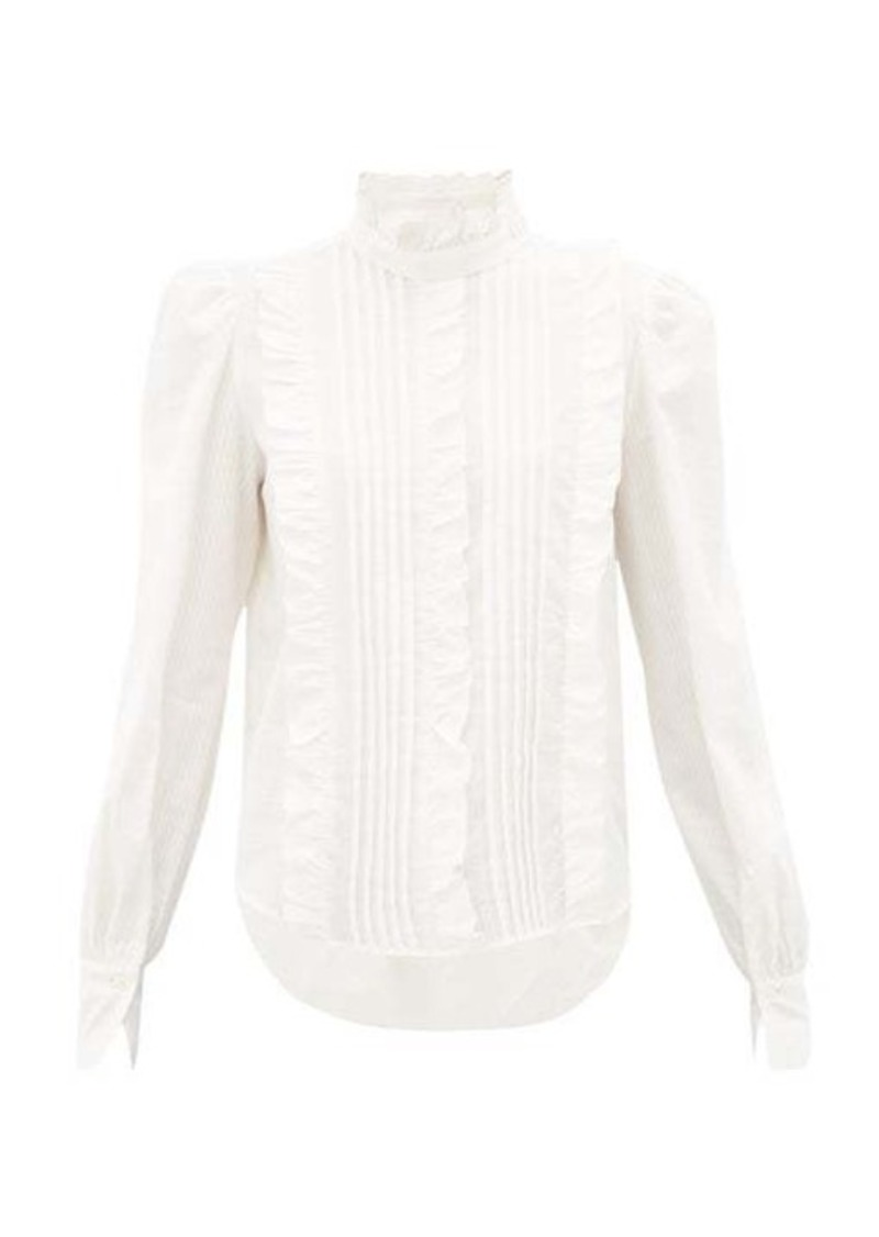 See By Chloé Pintucked-cotton Victoriana blouse