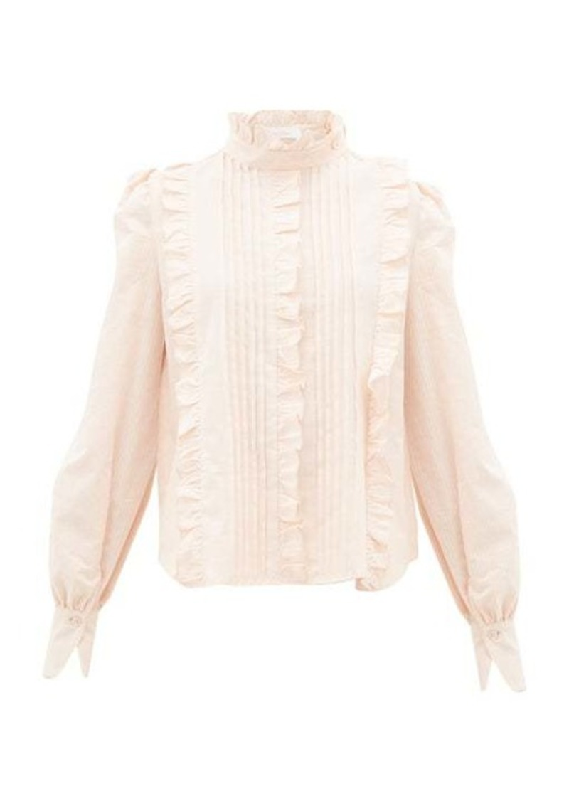 See By Chloé Pintucked ruffle-trim cotton Victoriana blouse