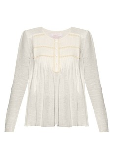 See By Chloé Pleated round-neck blouse