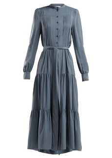 See By Chloé Pleated tie-waist crepe dress