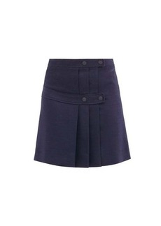 See By Chloé Pleated-twill mini wrap skirt