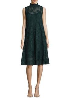 See by Chloé Plissé Mockneck Lace Dress