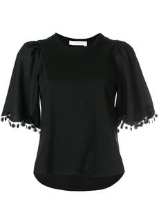 See By Chloé pom pom trim T-shirt - Black