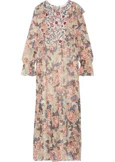 See by Chloé Printed silk crepe de chine and chiffon maxi dress