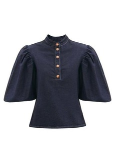 See By Chloé Puffed-sleeve cotton-blend denim blouse