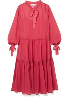 See by Chloé Pussy-bow cotton and silk-blend crepon maxi dress