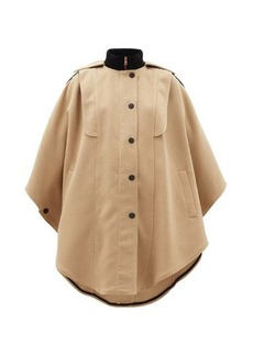 See By Chloé Ribbed-collar cotton-blend cape coat