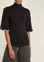 See By Chloé Metallic-trim short-sleeved wool sweater