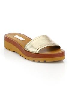 See by Chloé Robin Metallic Leather Demi-Wedge Slide Sandals