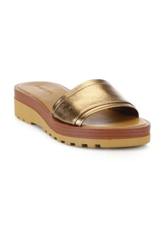 See by Chloé Robin Metallic Leather Demi-Wedge Slides