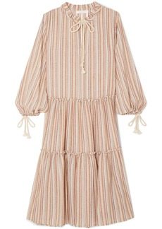 See by Chloé Rope-trimmed tiered striped gauze dress