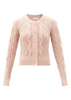 See By Chloé Round-neck cable-knit wool-blend cardigan