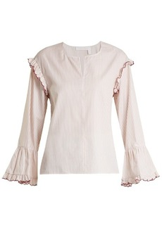 See By Chloé Round-neck striped-cotton blouse