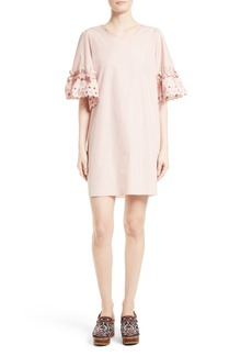 See by Chloé Ruffle Eyelet Sleeve Shift Dress