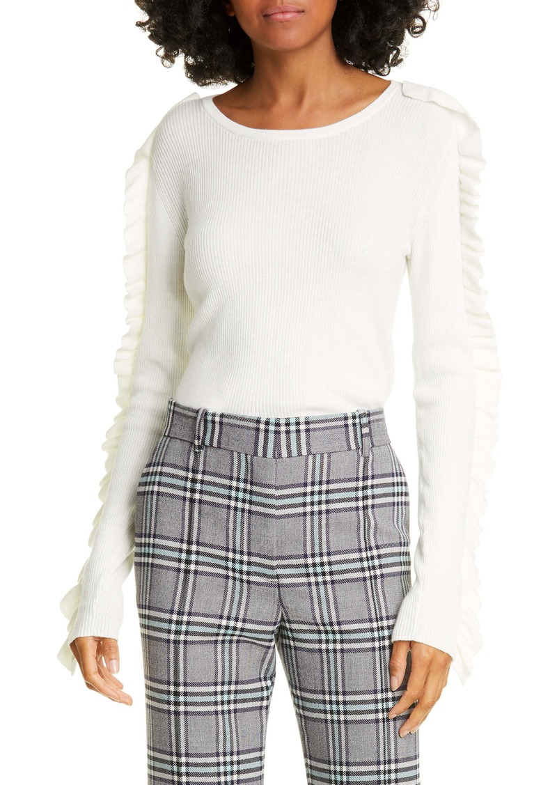 See by Chloé Ruffle Ribbed Cotton Blend Sweater