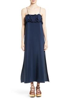 See by Chloé Ruffle Silk Babydoll Maxi Dress