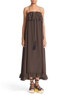 See by Chloé Ruffle Silk Maxi Dress