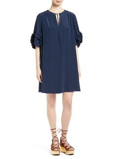 See by Chloé Ruffle Silk Shift Dress
