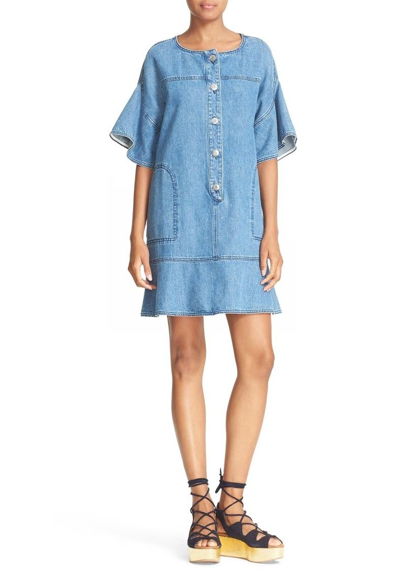 d73541ea9a See by Chloé See by Chloé Ruffle Sleeve Denim Dress