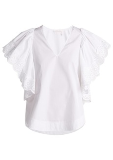 See By Chloé Ruffle-sleeved cotton-poplin blouse