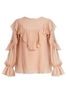 See By Chloé Ruffle-trimmed cotton and silk-blend top