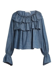 See By Chloé Ruffle-trimmed cotton-blend chambray top