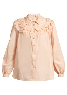 See By Chloé Ruffle-trimmed cotton blouse