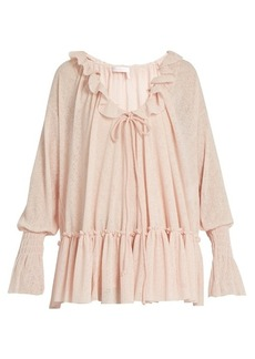See By Chloé Ruffle-trimmed gauze-jersey blouse