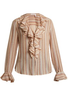 See By Chloé Ruffle-trimmed striped gauze top