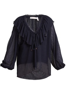 See By Chloé Ruffle-trimmed V-neck blouse