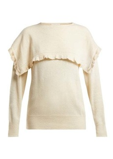 See By Chloé Ruffled-bib alpaca-blend sweater