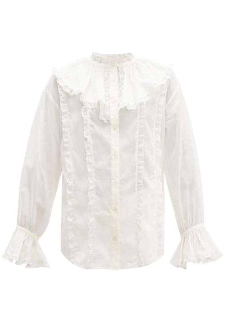 See By Chloé Ruffled-collar lace and cotton blouse