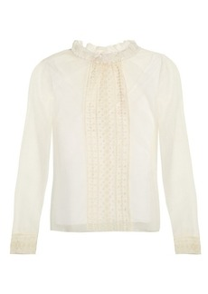 See By Chloé Ruffled-collar mesh blouse