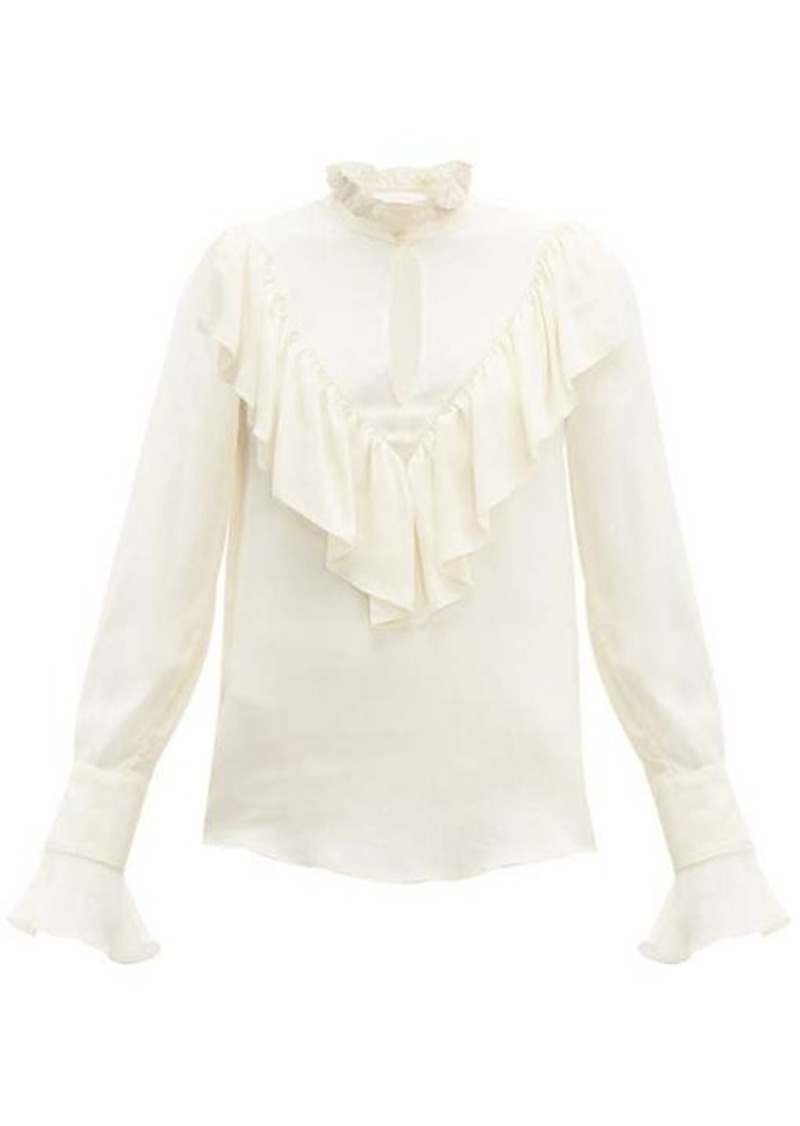 See By Chloé Ruffled crepe de Chine blouse