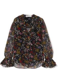 See by Chloé Ruffled floral-print fil coupé silk-georgette blouse