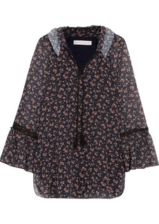 See by Chloé Ruffled lace-trimmed floral-print georgette blouse