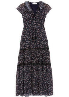 See by Chloé Ruffled lace-trimmed floral-print georgette midi dress