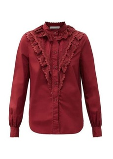See By Chloé Ruffled logo-embroidered cotton-poplin blouse