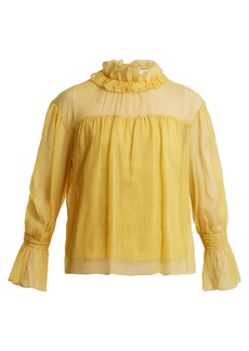 See By Chloé Ruffled-neck silk blouse