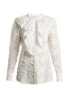 See By Chloé Ruffled-trim embroidered cotton blouse