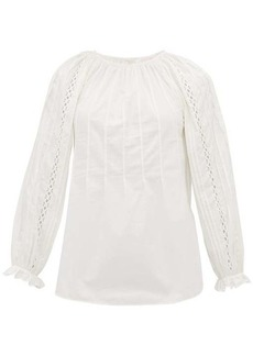 See By Chloé Scalloped cotton-poplin blouse