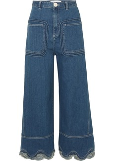 Scalloped high-rise wide-leg jeans