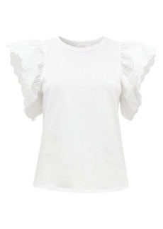 See By Chloé Scalloped-sleeve cotton-jersey T-shirt