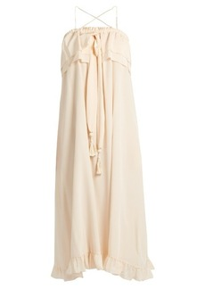 See By Chloé Self-tie ruffle-trimmed silk dress