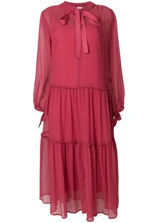 See By Chloé sheer tie neck midi dress - Pink & Purple