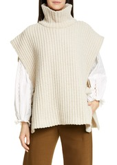 See by Chloé Side Tie Turtleneck Wool Blend Poncho