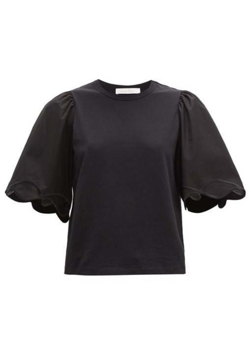 See By Chloé Sleeve-embroidered cotton top